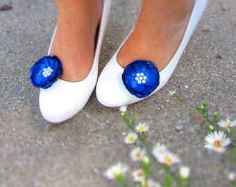 Blue Shoe Clips Royal Blue Wedding Bridesmaid Accessories, White Pearls, Horizon Something Blue Bride Shoe Accessory, Maid of Honor Gift