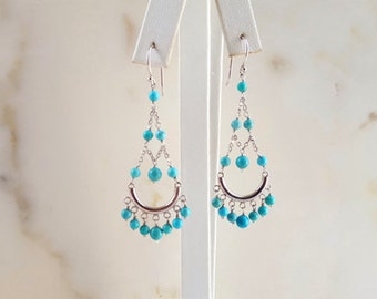 14K White Gold and Turquoise Chandelier Earrings, Solid Gold Long Dangle Chain Earrings, Boho Wedding High End Fine Jewelry Life Bijou