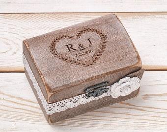 Ring Bearer Box Wedding Ring Box Ring Holder Custom Wooden Box Ivory Shabby Chic Rustic Weddings