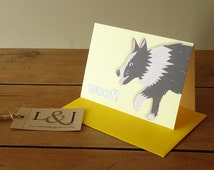 Border collie card - dog gifts - cute dog card - yellow - animal notecard - collie dog - rough collie - sheepdog - dogs - luckjudgementgifts
