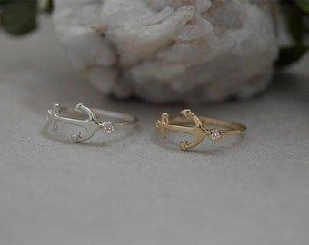 Engagement diamond anchor ring,Anchor ring,14 k gold anchor midi ring,Pink anchor ring solid gold,White gold 14k anchor ring.