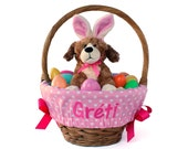 Personalized Easter Basket Liner, Pink Big Dots, Basket not included, Monogrammed Easter basket liner, Custom basket liner with name added
