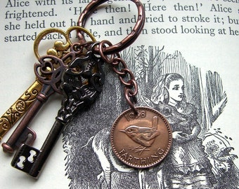 Farthing necklace, Farthing keychain, English coin, Mens necklace, Girfriend necklace, Wren, British coin, Coin jewellery, Bird keychain