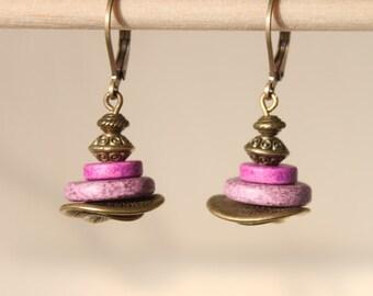 Purple Earrings Ceramic Earrings Dangle Brass Earrings Boho Chic Earrings Boho Jewelry Gift Ideas SMALL EARRINGS Spring