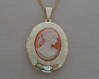 """Pink Oval Shaped Cameo Locket, Pendant on a 18"""" Long Gold Plated Chain"""