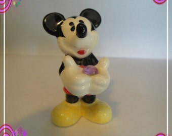 Vintage Adorable Walt Disney Mickey Mouse Figurine Figure holding gem stone Little Mickey Mouse Collectible Figure