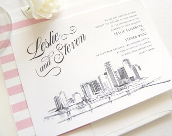 Miami Skyline Wedding Invitations Package (Sold in Sets of 10 Invitations, RSVP Cards + Envelopes)