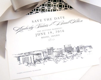Boise, Idaho Skyline Watercolor & Hand Drawn Save the Date Cards (set of 25 cards)
