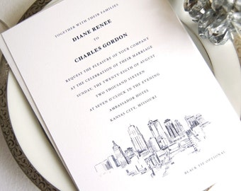 Kansas City Skyline Wedding Invitations, Kansas City Weddings, Kansas City Wedding (Sold in Sets of 10 Invitations, RSVP Cards + Envelopes)