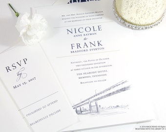 Memphis Bridge Skyline Wedding Invitations Package (Sold in Sets of 10 Invitations, RSVP Cards + Envelopes)