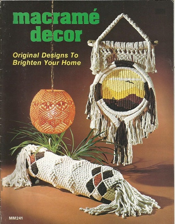 Macrame Book Cover Tutorial : Vintage macrame pattern book decor mm