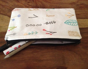 HandPrinted Pencil Case - Pencil Case - Flora Print Pencil Case