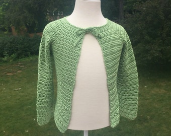Girl's 100% Pima Cotton Green Crochet Cardigan Sweater (Size 3 years)