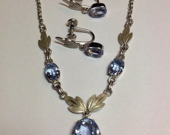 Vintage Van Dell Sterling Pendant Earring Set With Synthetic Aqua Marine Stones, Non Pierced