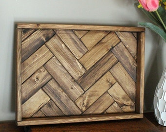 Rustic Wood Double Herringbone Serving Tray