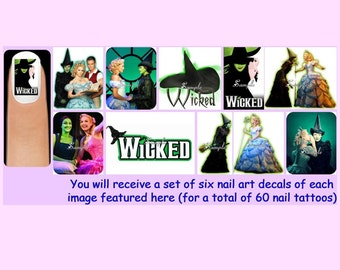 60 x WICKED Nail Art Decals + Free Rhinestones The Musical Wizard of Oz Witches Witch Elphaba Glinda