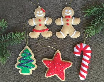 Felt Christmas Tree Ornaments / Felt Christmas Decorations / Felt Christmas Cookies / Gingerbread Cookies