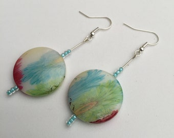 Hand Crafted Multi-Coloured Flower pattened Beaded Earrings.