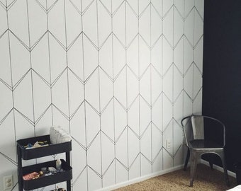Geometric lines wallpaper, self adhesive, temporary, vinyl, removable nursery mb063