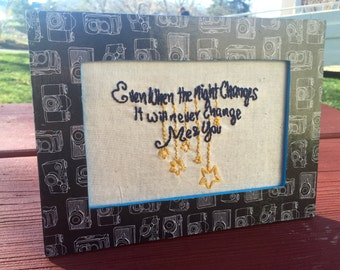Night Changes Finished Cross Stitch in Frame