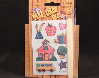 Vintage Art Lover Full Color Rub On Transfers Package. School House