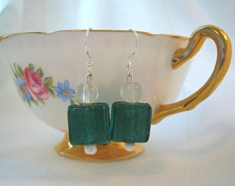 Earrings- Emerald Squares