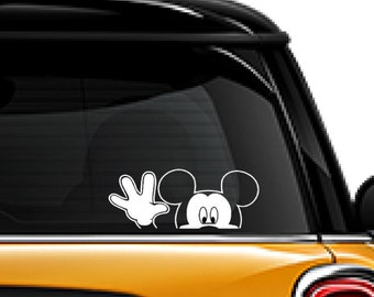 Mickey Mouse waving decal, FREE SHIPPING, White vinyl decal, Mickey Mouse, disney character #187