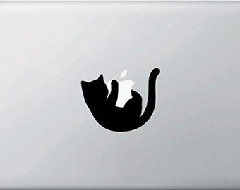Cat Hanging from an Apple decal, FREE SHIPPING, Black vinyl decal #132