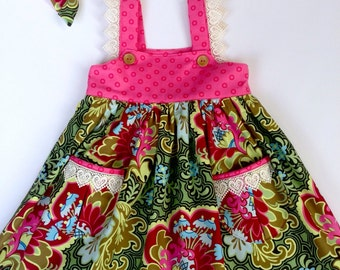 Girls dress girls pink dress baby dress special occasion dress lace dress designer fabric Amy Butler size 3months -12years SWD602