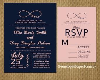 Navy and Blush Wedding Invitation,Infinity Love Symbol,Elegant,Sophisticated,Unique,Custom,Printed Invitation,Wedding Set,Optional RSVP Card