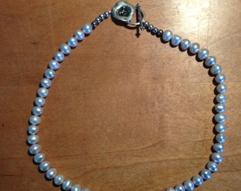 Light Grey, Sterling Silver, Pearl Necklace