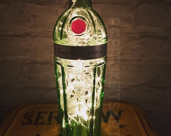 Tanqueray Gin 70cl no 10 Lamp Light Upcycled Bottle Unique Present uk plug