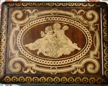 Handsome Colman's Mustard large casket with cherubs and marquetry patterns