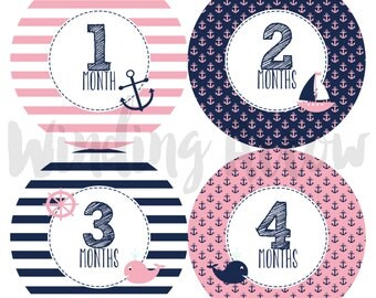 Baby Monthly Milestone Stickers Baby Girl Photo Prop Baby Shower Gift First Year Belly Stickers 12 Months Pink Navy Nautical Baby