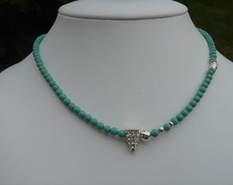 Pearl Necklace with silver, turquoise