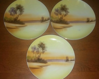 "3 MEITO China Hand Painted 6 and 1/2"" Plates, Vintage Replacement China, Collectible Asian Dishes Sunset Colors, Shabby Cottage Chic Dining"
