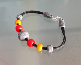 Polymer Clay Beaded Cotton Bracelet with Clasp