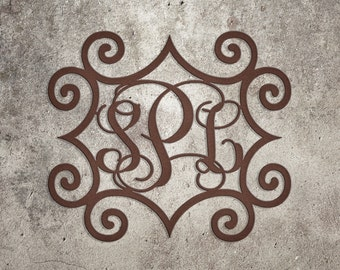 Wrought Iron Inspired Rectangular Wall Art with Three Monogrammed Initials | Indoor or Outdoor Metal Wall Art | Metal Wall Decorations