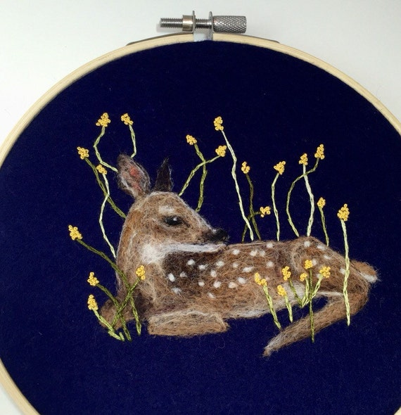 Fawn needle felted embroidery hoop art wool painting felted for What kind of paint to use on kitchen cabinets for embroidery hoop wall art