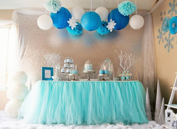 100x80cm light bluetulle tutu table skirt for birthday party wedding