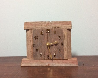 Rustic Recycled Barn Wood Desk Clock (#123)