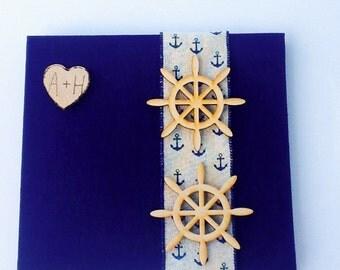 Beach wedding album-Nautical Wedding Album-Ships wheel anniversary album-ships wheel wedding album-Navy blue wedding album-coast guard wed