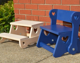 Child Step Stool Bench / Solid Wood Step Stool / Kidu0027s Step Stool / Child Step : kids kitchen step stool - islam-shia.org