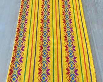 Mexican Table Runner, Custom Placemats, Woven Napkins Or Tablecloth.  Yellow, Fiesta Decor