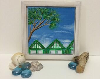 Original framed Landscape. Gower minis - Langland Huts. Free UK delivery