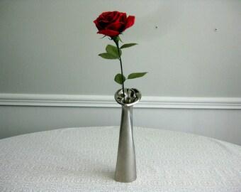 Handmade Paper Rose in Metal Bud Vase