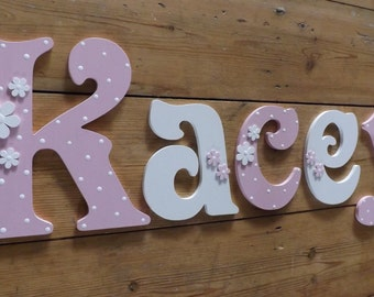 Girls hand painted Victorian font wooden wall letters. Small size mixed case Daisy and Polka Dot Design