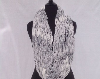Chunky Infinity Scarf in Shades of Gray and White (arm knitted)
