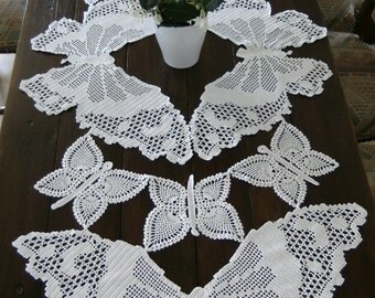 Tablecloth butterflies, white cotton hand made crochet table runner. Contemporary textile art.