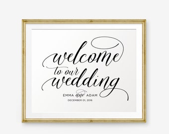 SALE Personalized Wedding Sign, Welcome To Our Wedding, Wedding Printable, Wedding welcome sign, Wedding Sign, Wedding Decor
